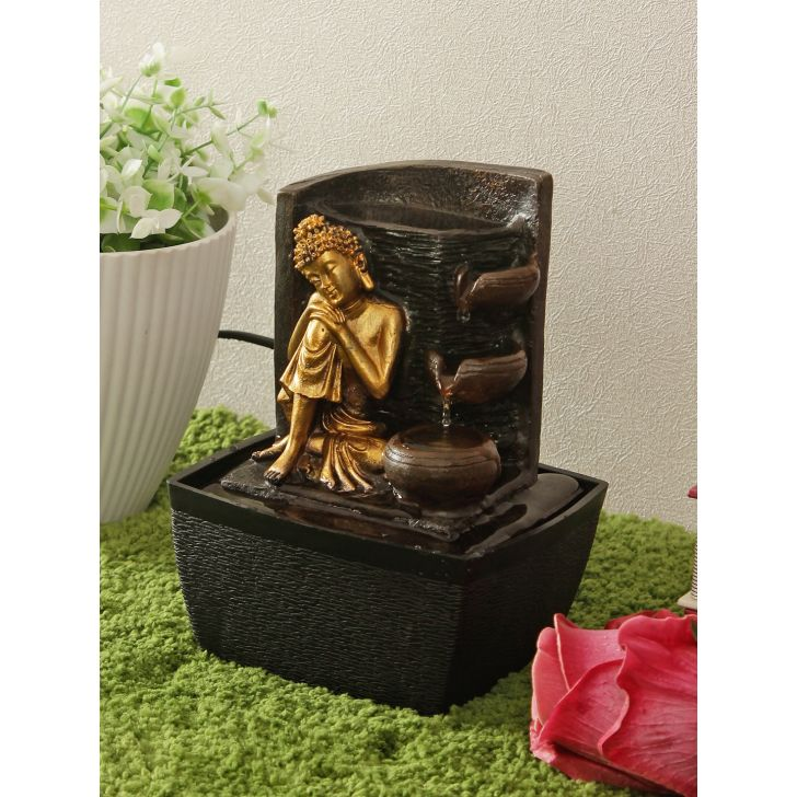 Impression Polyresin Fountain in Black Gold Colour by Living Essence