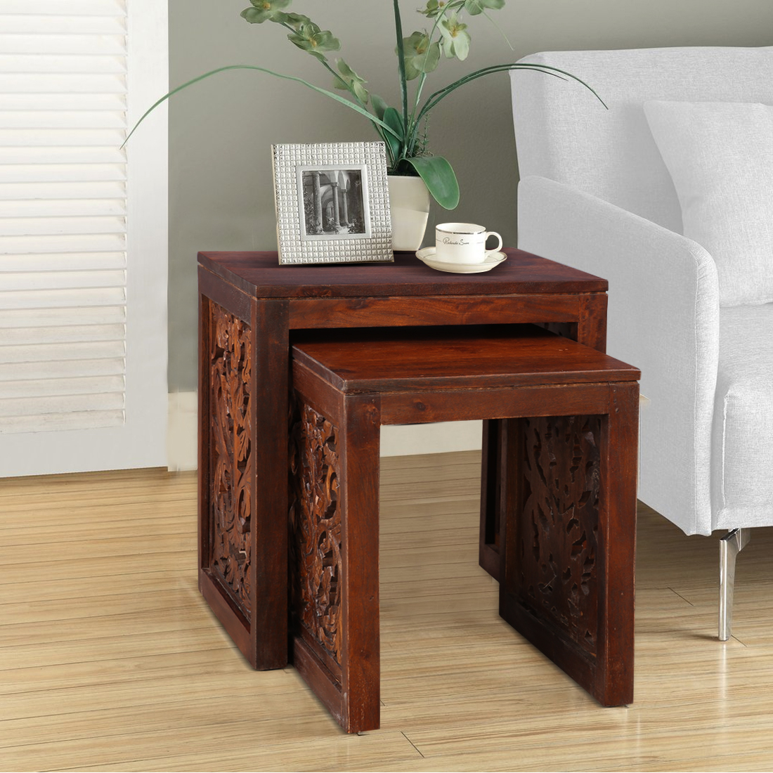 Aamer Solid Wood End Table in Walnut Colour by HomeTown