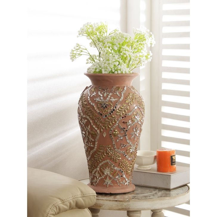 Azzure Polyresin Vase in Peach Gold Colour by HomeTown