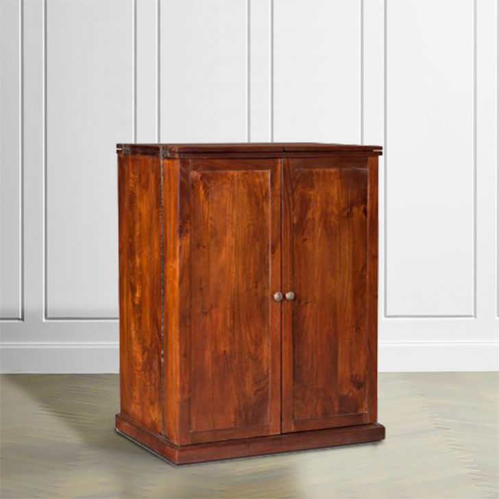 Nordic Solid Wood Bar Cabinet in Chest Nut Brown Colour by HomeTown