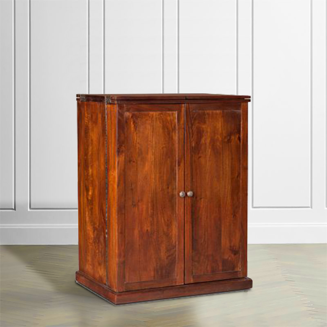 Nordic Engineered Wood Bar Cabinet in Chest Nut Brown Colour by HomeTown