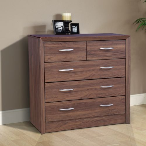 Chest Of Drawers.Stark Engineered Wood Chest Of Drawers In Walnut Colour By Hometown