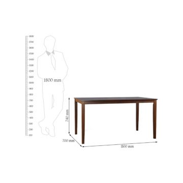 Magix Solid Wood Four Seater Dining Set in Dark Walnut Colour by HomeTown