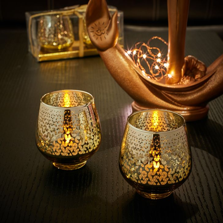 Zahara Set Of 2 Star Etched Glass Candle Holders in GOLD Colour by Living Essence