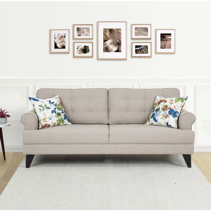 Paddington Fabric Three Seater Sofa in Beige Color by HomeTown