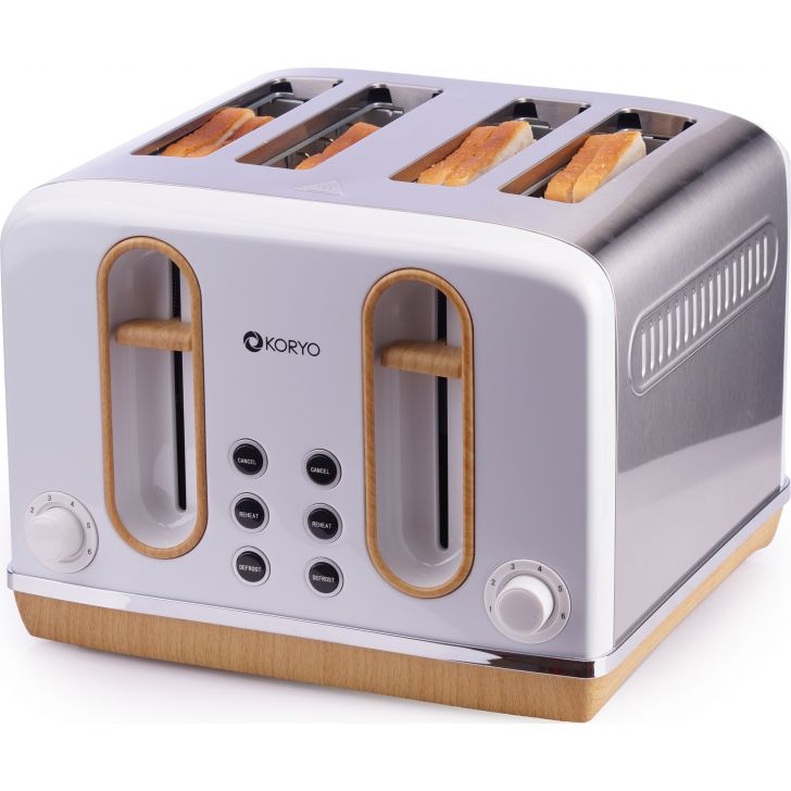 4 Slice Pop-Up Toaster (2300 W) - White by Koryo