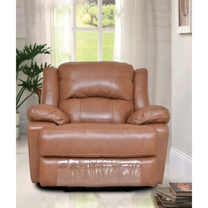 Mercedes Half Leather Single Seater Recliner in Brown Colour by HomeTown