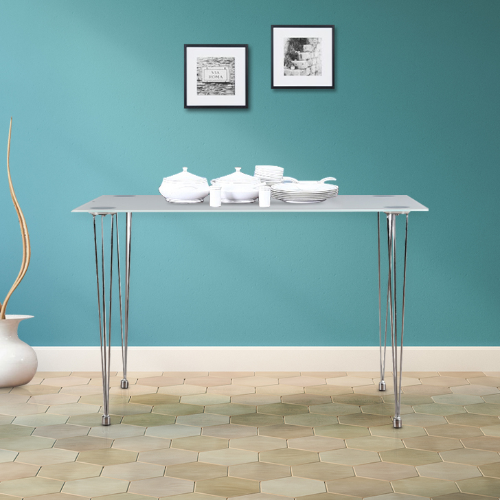 Gloria Metal Glass Top Four Seater Dining Table in White Colour by HomeTown