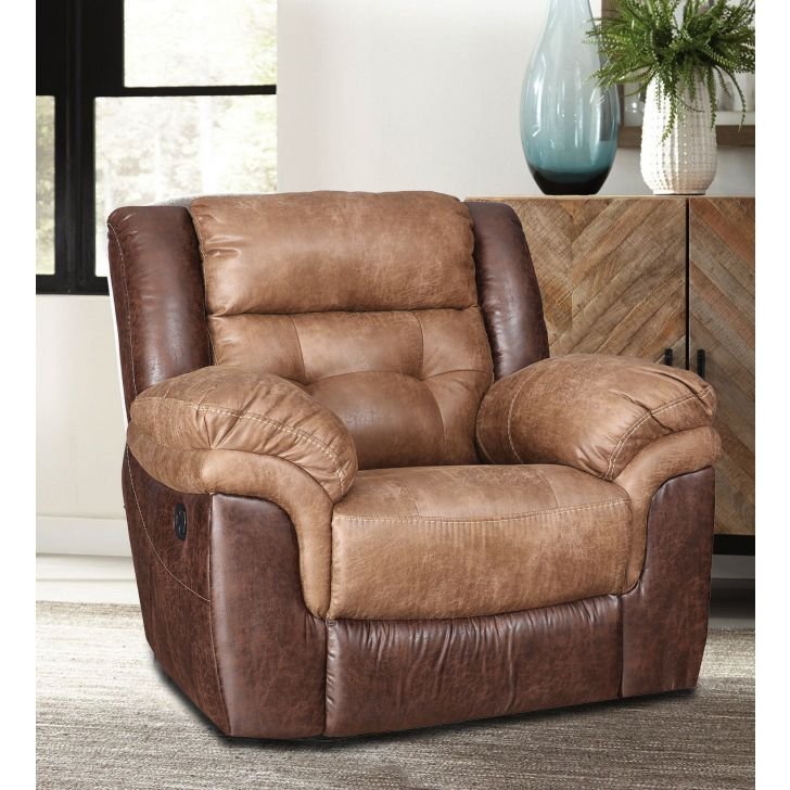 Eclairs Fabric Single Seater Recliner in Brown Colour by HomeTown