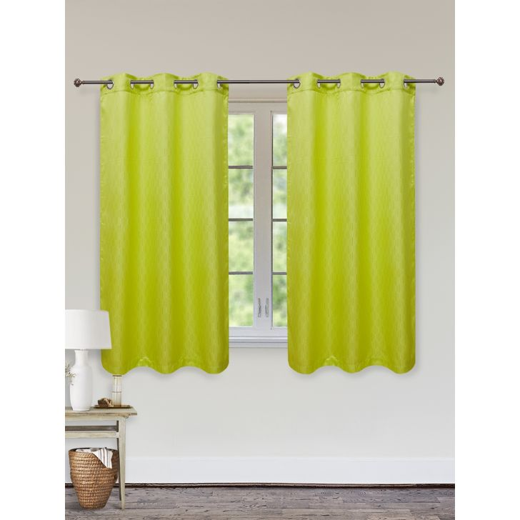 Fiesta Set of 2 Polyester Window Curtains in Citron Colour by Living Essence