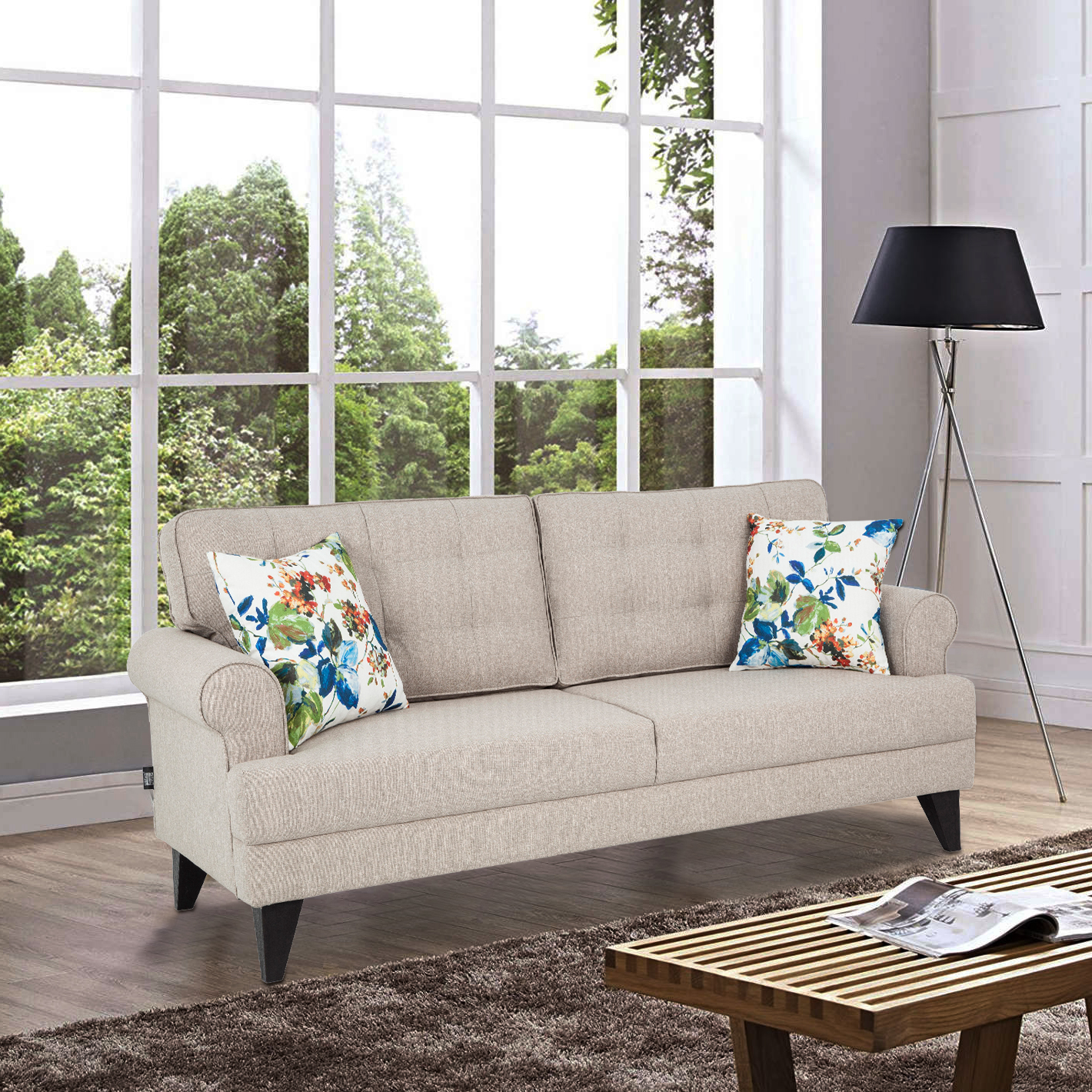 Miller Fabric Three Seater Sofa in Beige Colour by HomeTown