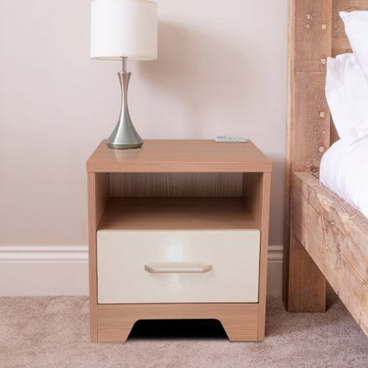 Ambra Engineered Wood Bedside Table in White & Larch Colour by HomeTown