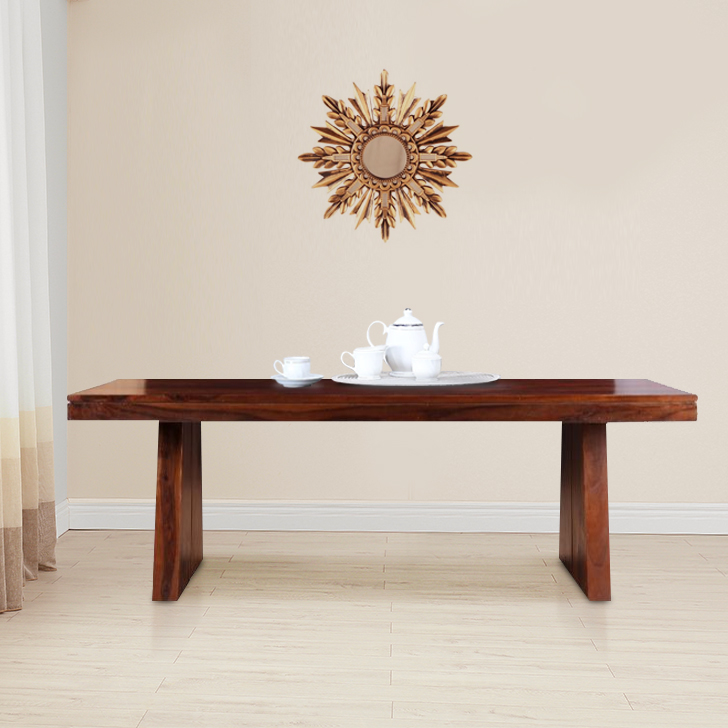 Austin Solid Wood Eight Seater Dining Table in Honey Colour by HomeTown