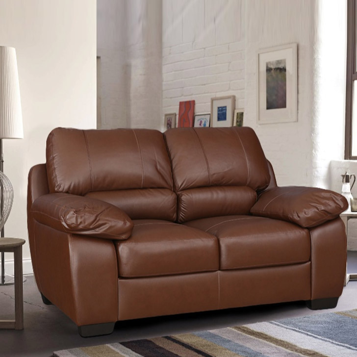 Barton Half Leather Two Seater Sofa in Brown Colour by HomeTown