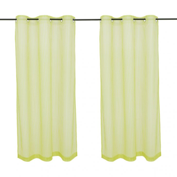 Amour set of 2 Polyester Window Curtains in Citron Colour by Living Essence