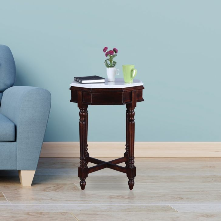 Royal Solid Wood Marble Top Side Table in Dark Walnut Colour by HomeTown