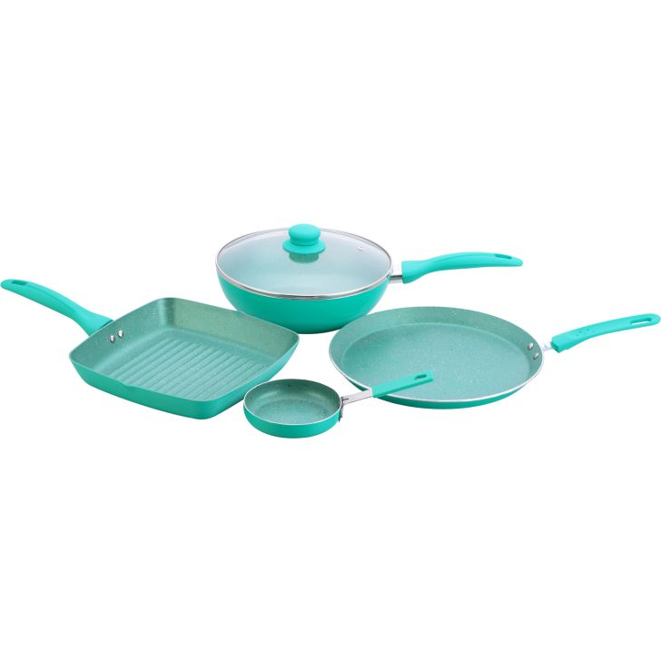 Wonderchef Celebration Set Of 6 Aluminium Cookware Sets in Turquoise Blue Colour by Wonderchef