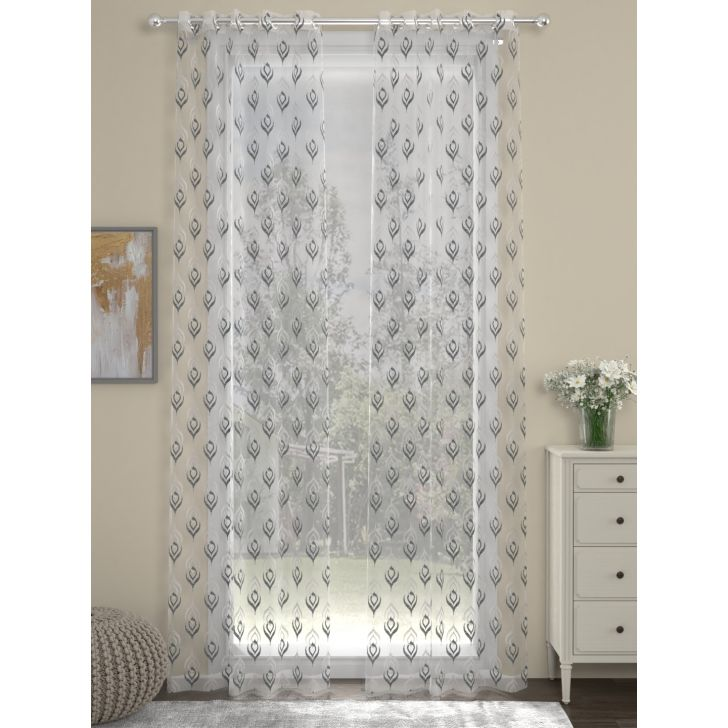 Rosara Home Polyester Curtain in Grey Colour