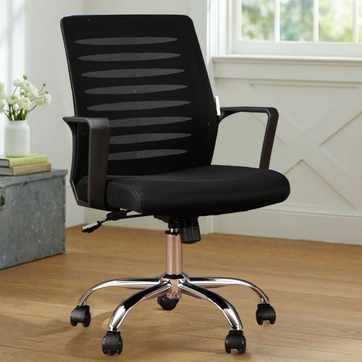 Marina Fabric Office Chair in Black Colour by HomeTown
