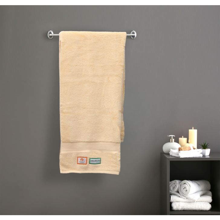 Stay Fresh Cotton Bath Towels in Yellow Colour by Dreamline