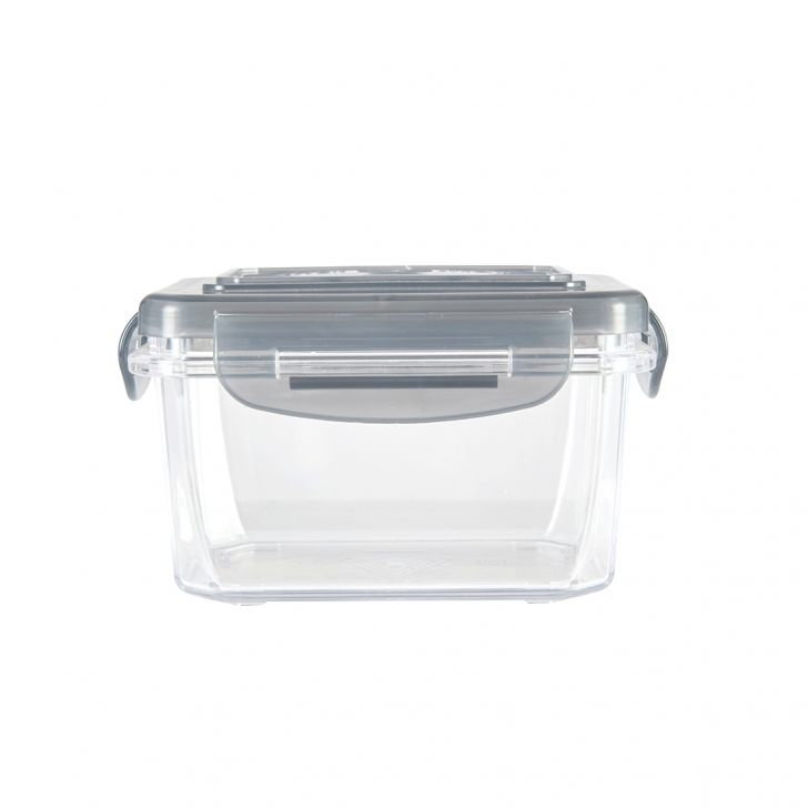 Clara Tritan Container 225 Ml Tritan Containers in Transparent Container With Grey Lid Colour by Living Essence