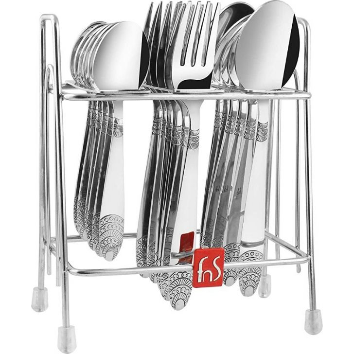 Kenwood Stainless Steel 18 Pcs Cutlery Set With Stand in Silver Colour by FNS
