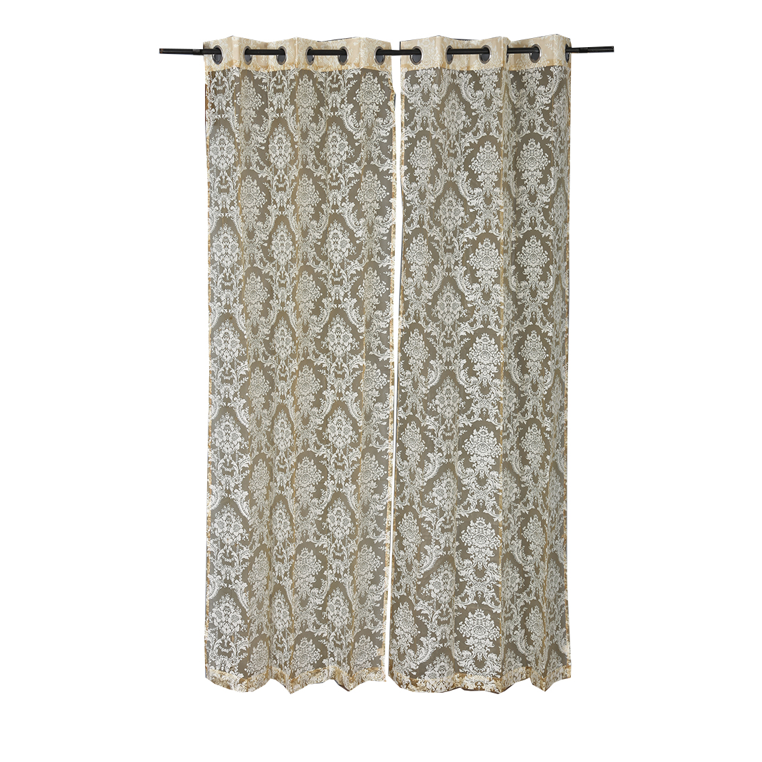Amour Door Curtain Rose Set of 2 Cotton Polyester Door Curtains in Rose Colour by Living Essence
