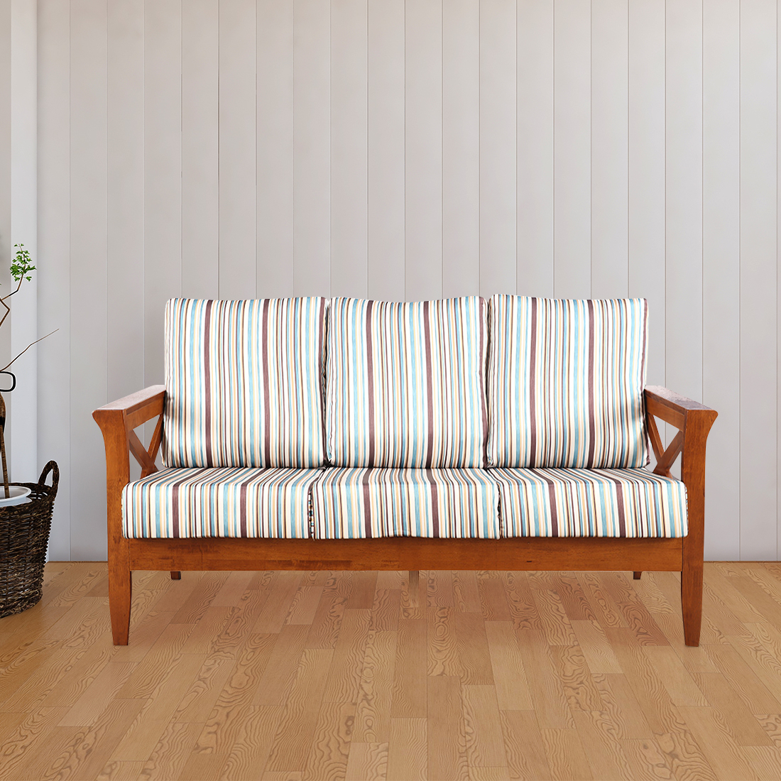 Aldrich Solid Wood Three Seater Sofa With Cushions in Stripes Colour by HomeTown