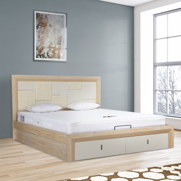 Galileo Engineered Wood Hydraulic Storage King Size Bed in Beige Colour by HomeTown
