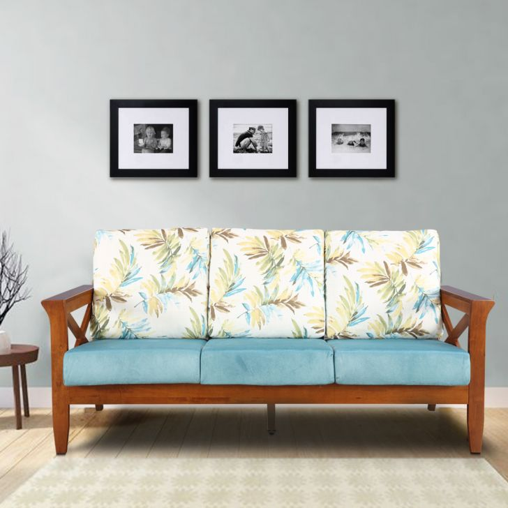 Aldrich Solid Wood Three Seater Sofa with Cushion in Printed Teal Colour by HomeTown