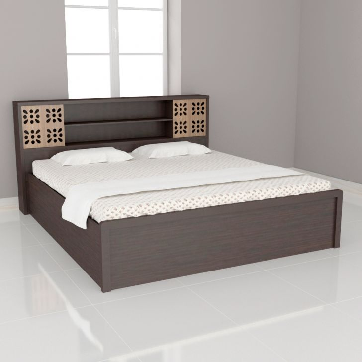 Relaxo Engineered Wood Box Storage King Size Bed in Wenge Colour by Vickys