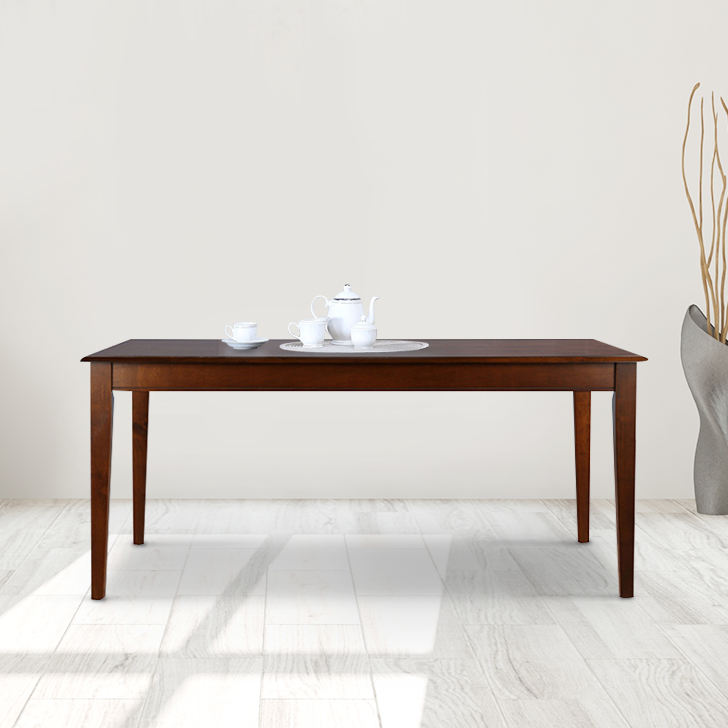 Linda Solid Wood Six Seater Dining Table in Walnut Colour by HomeTown