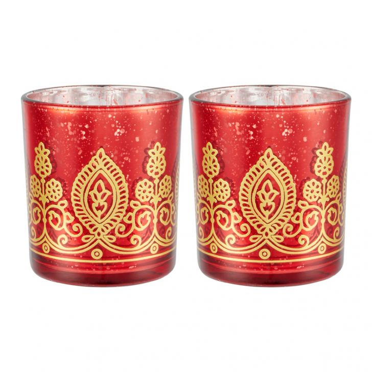 Zahara Set Of 2 Flower Etched Candle Holder Red Gold Glass Candle Holders in RED GOLD Colour by Living Essence
