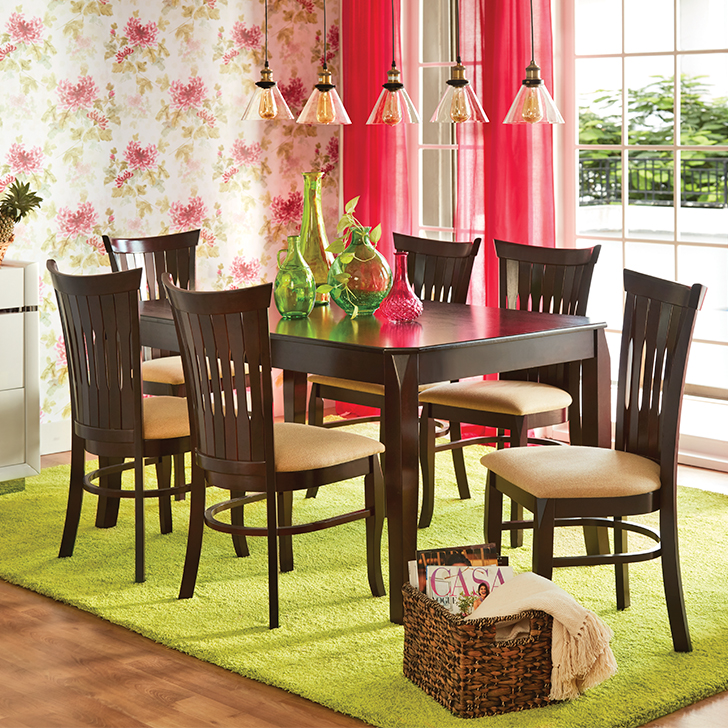 Cardiff Solid Wood Six Seater Dining Set in Mocha Colour by HomeTown