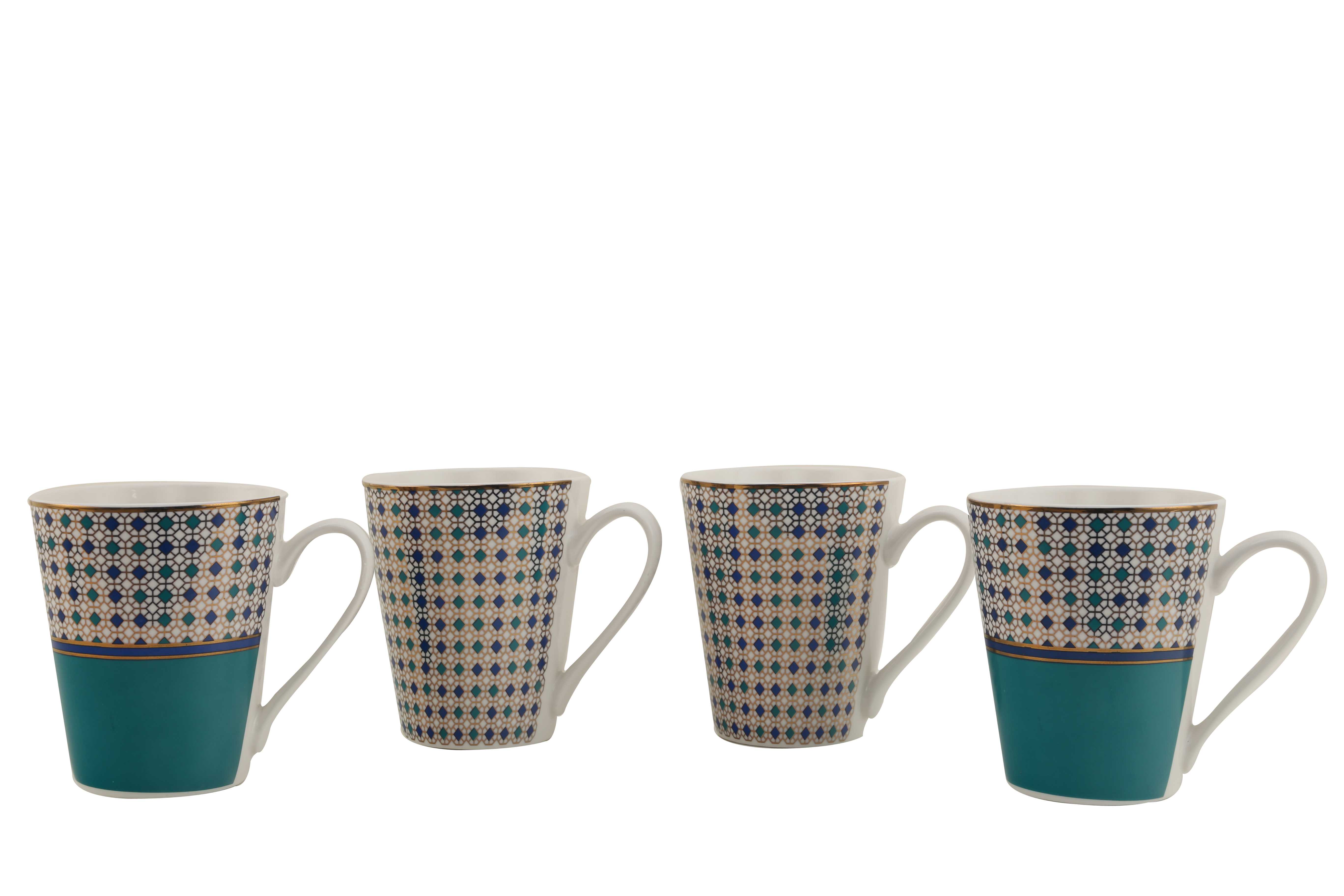 Panache Set Of Four Ceramic Coffee Mugs in Blue With Gold Colour by HomeTown