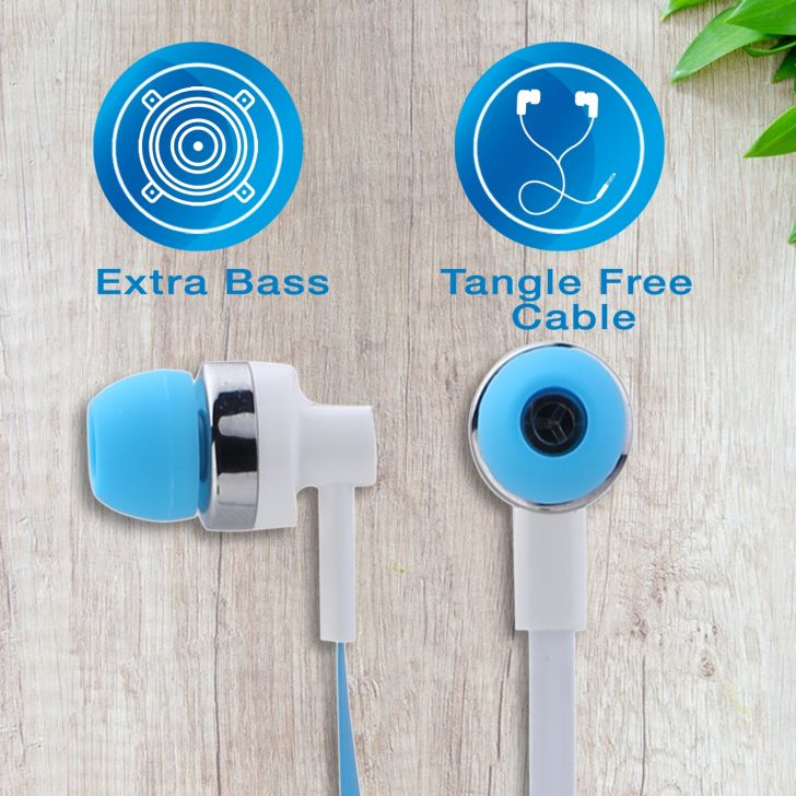 Wired Stereo Earphone with Mic - Blue by Koryo