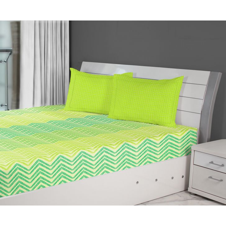 Fiesta Chevron Cotton Double Bed Sheets in Teal Colour by Living Essence