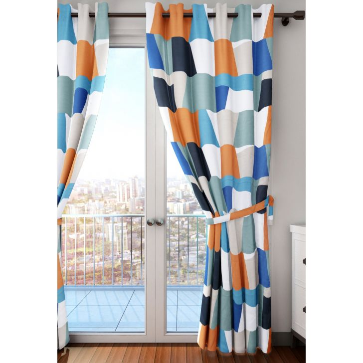 Play Colorful Abstract Polyester XL Curtain in Multi Colour