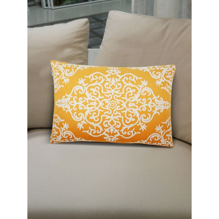 Folklore Adele Cushion Covers in Mango Colour by Living Essence