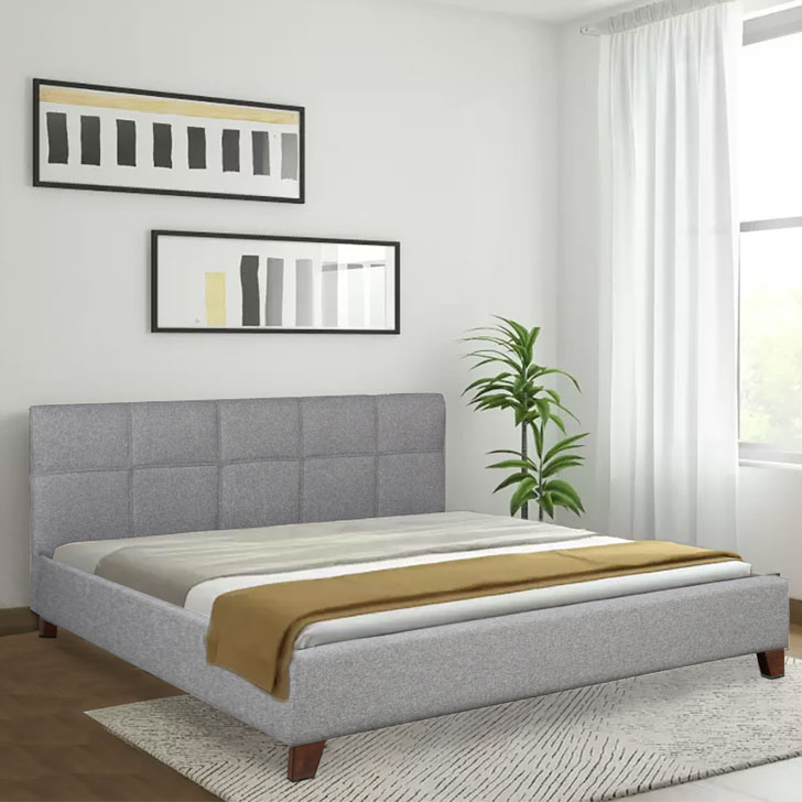 Allen Engineered Wood Fabric Upholstered King Size Bed in grey Colour by HomeTown