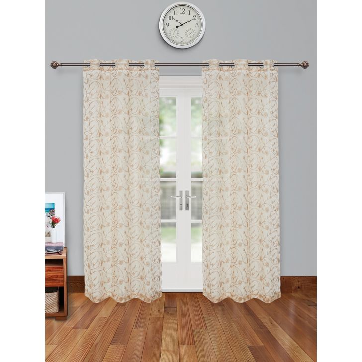 Amour Sheer Set of 2 Polyester Door Curtains in Beige Colour by Living Essence