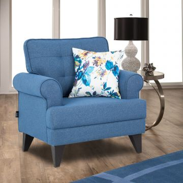 Miller Fabric Single Seater Sofa In Blue Colour By Hometown