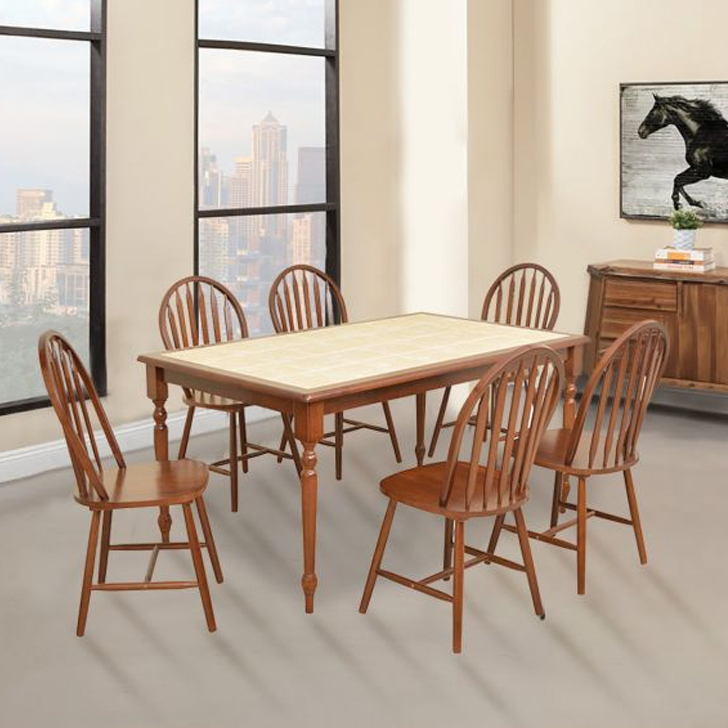 Kiera Solid Wood Six Seater Dining Set in Cheery & Beige Colour by HomeTown