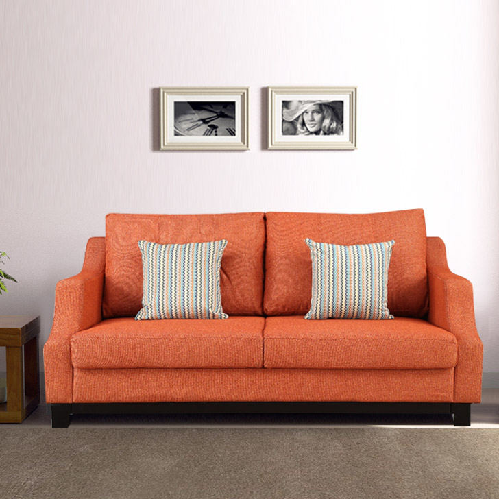 Tremblay Fabric Three Seater Sofa in Rust Colour by HomeTown