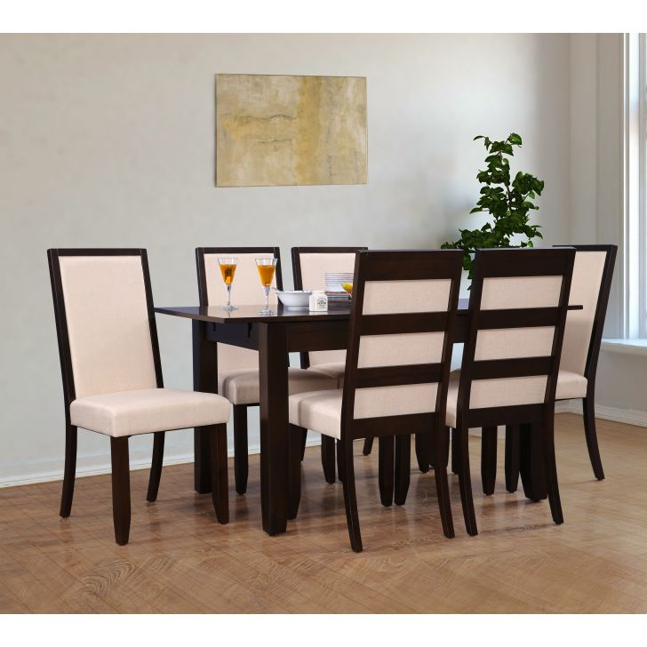 Flexi Solid Wood Four Seater To Six Seater Extension Dining Set in Cappuccino Colour by HomeTown