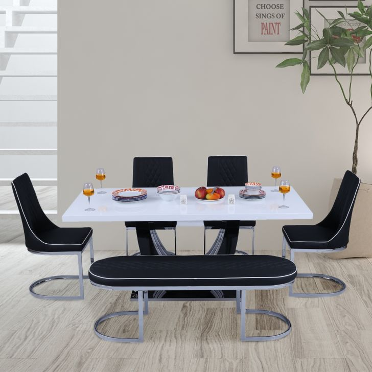 Paramount High Gloss Top 6 Seater Dining Set in Black & white Colour