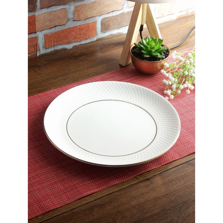 Living Essence Bone China Dinner Plate in White Colour by Living Essence