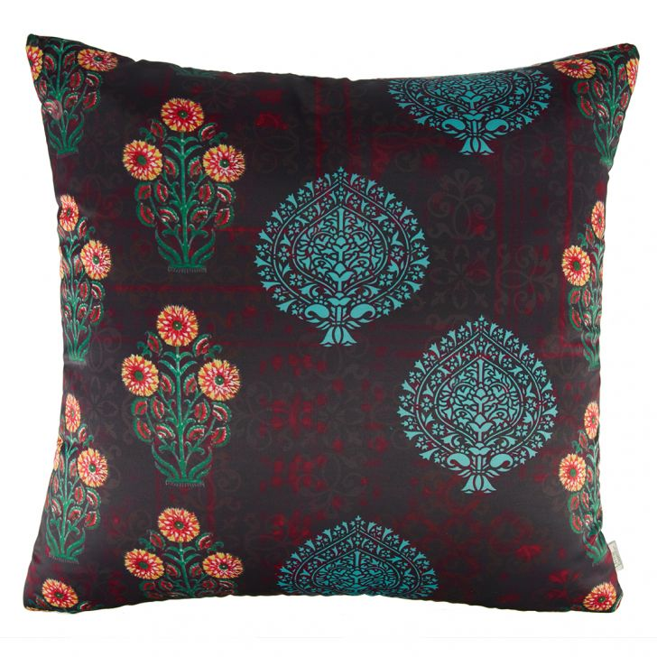 Digital Cushion Cover Butta Pink Cushion Covers in Blue Pink Colour by Living Essence