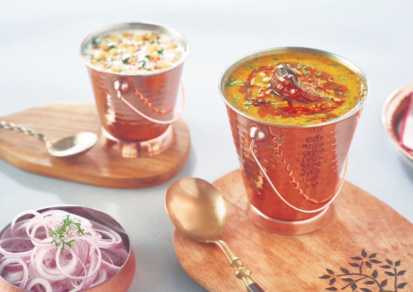 Copper Curry Bucket Set Stainless steel Serving Sets in Copper Colour by Songbird