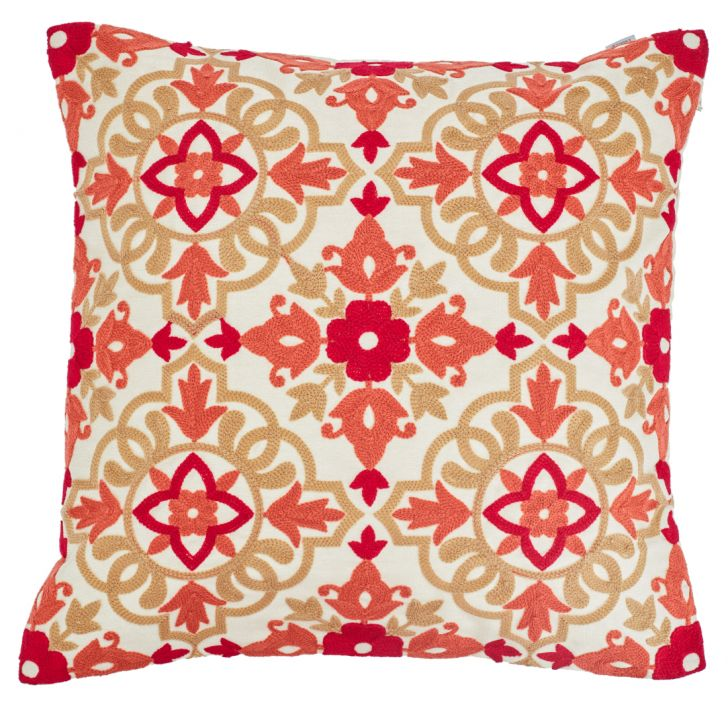 Morocco Cushion Cover Polyester Cushion Covers in Red Colour by Living Essence